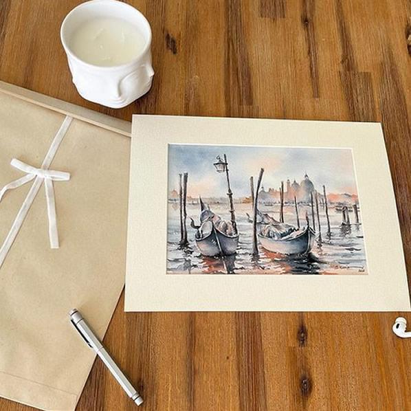 Boat watercolor Greeting card