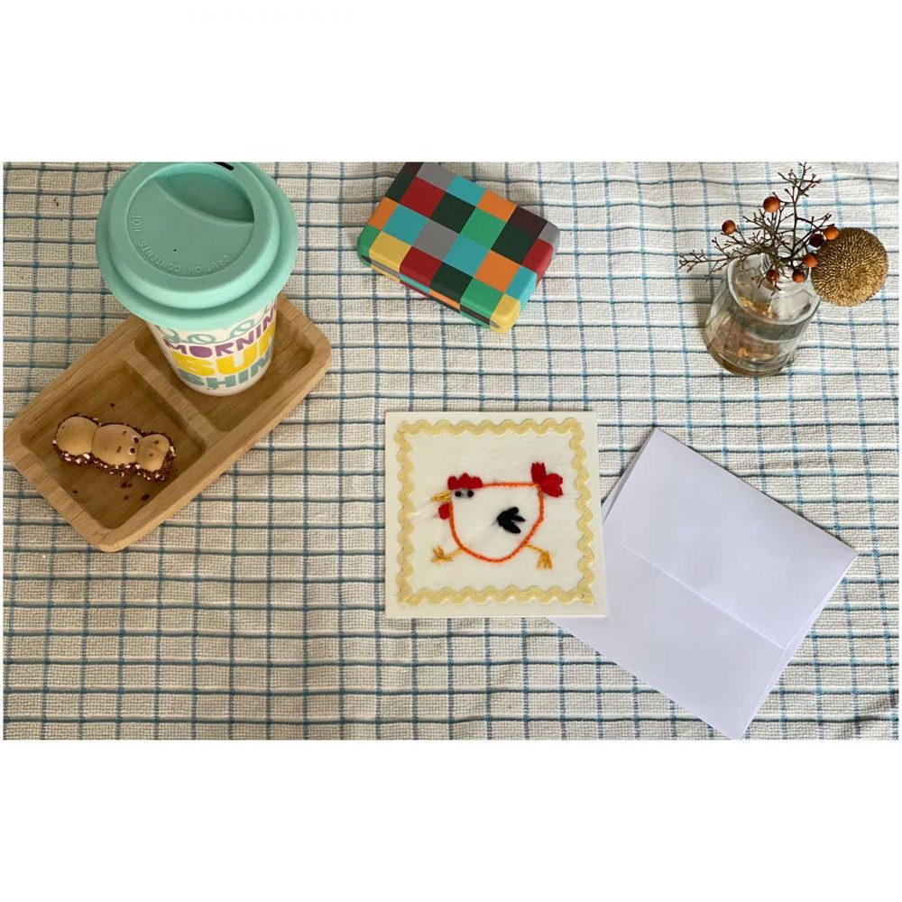 Chicken embroidery greeting cards