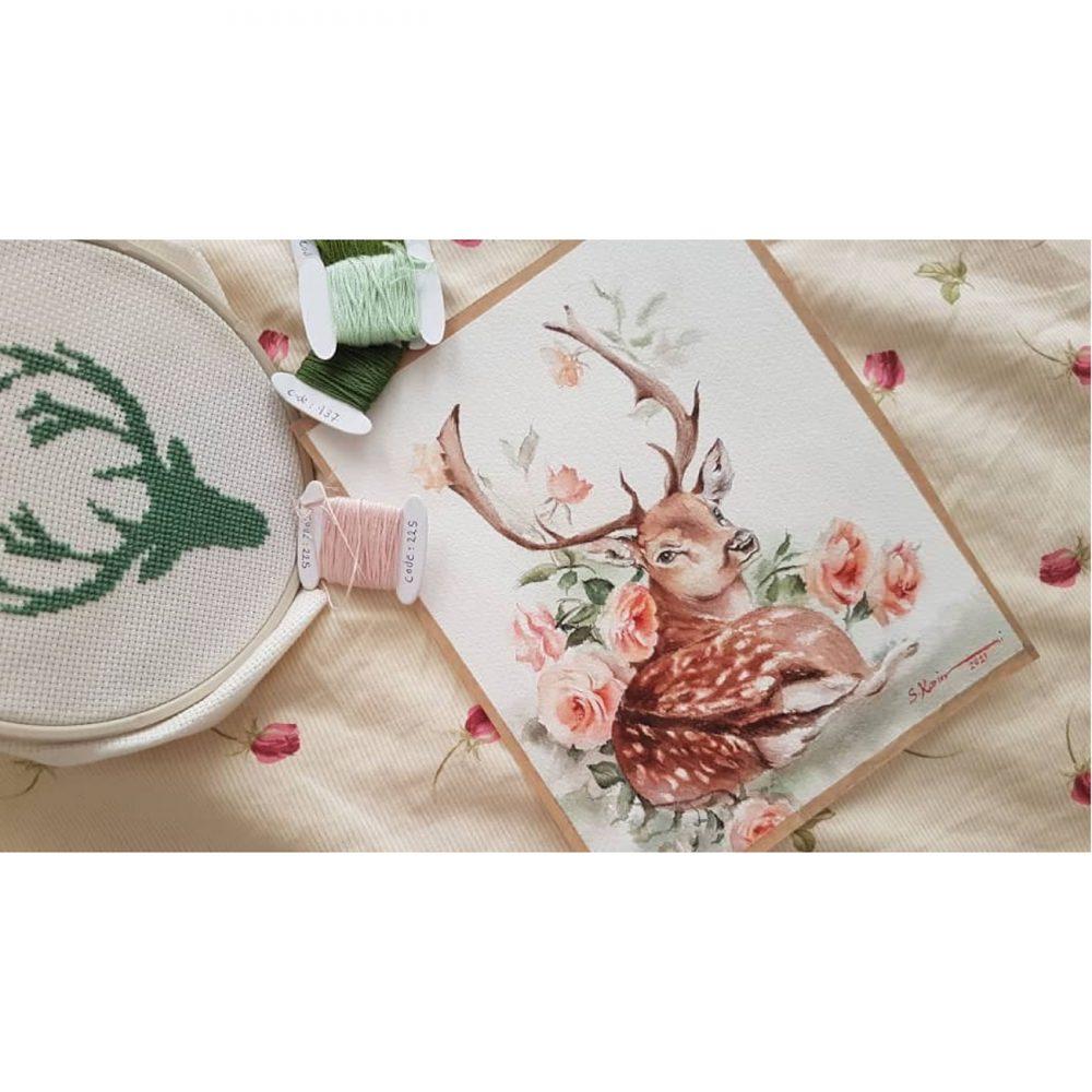 Deer-watercolor-painting