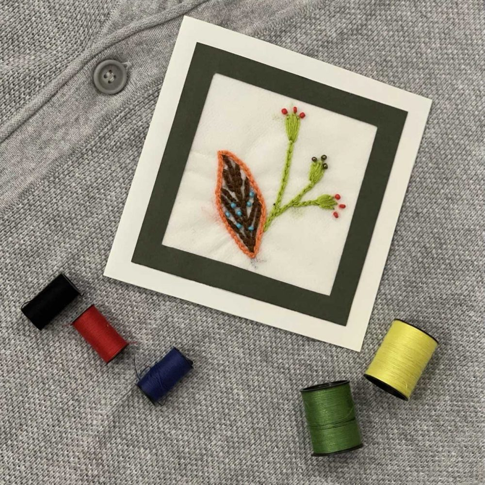 Flower Embroidery Card