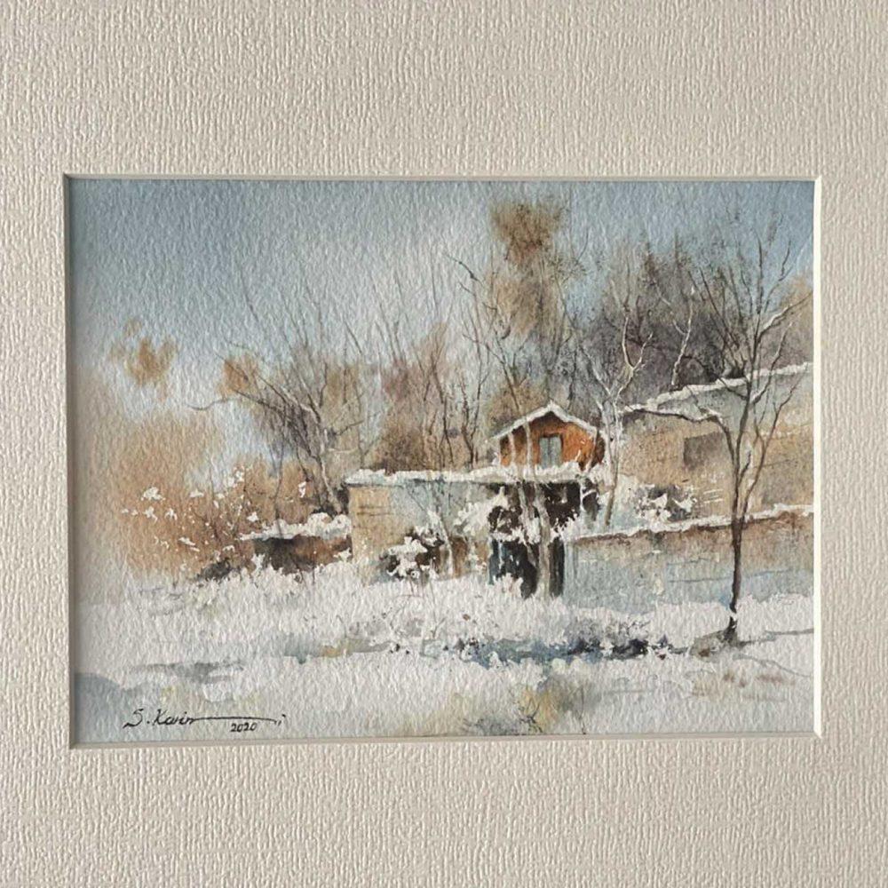 Snowy Farm Painting