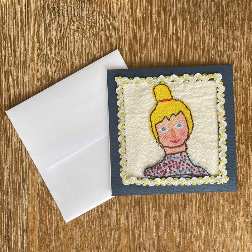 Barbie Embroidery Greeting Card