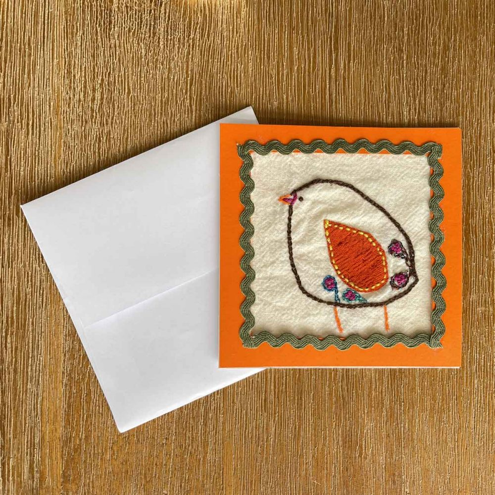 Chick Embroidery Greeting Card