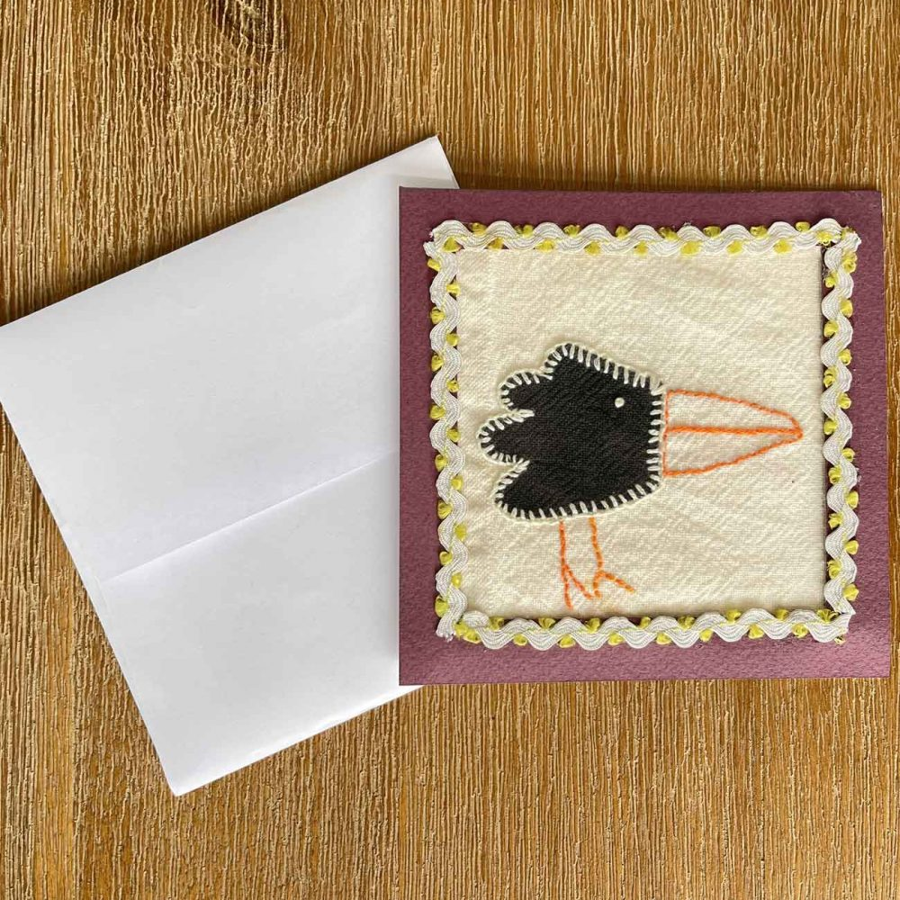 Crow Embroidery Greeting -Card