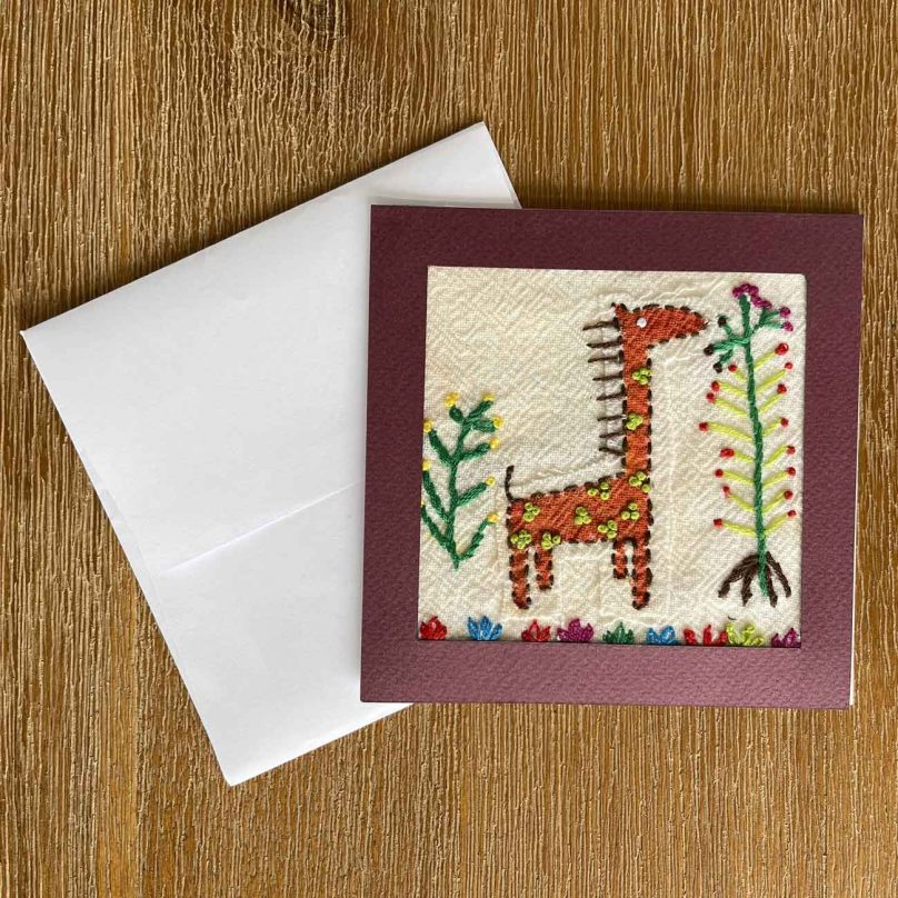 Giraffe Embroidery Greeting Card