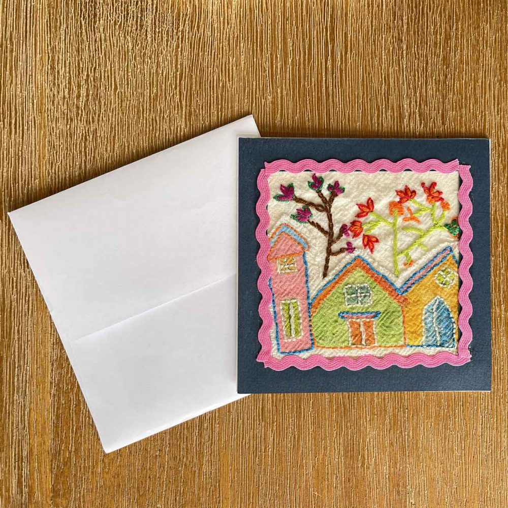 Houses Embroidery Greeting Card