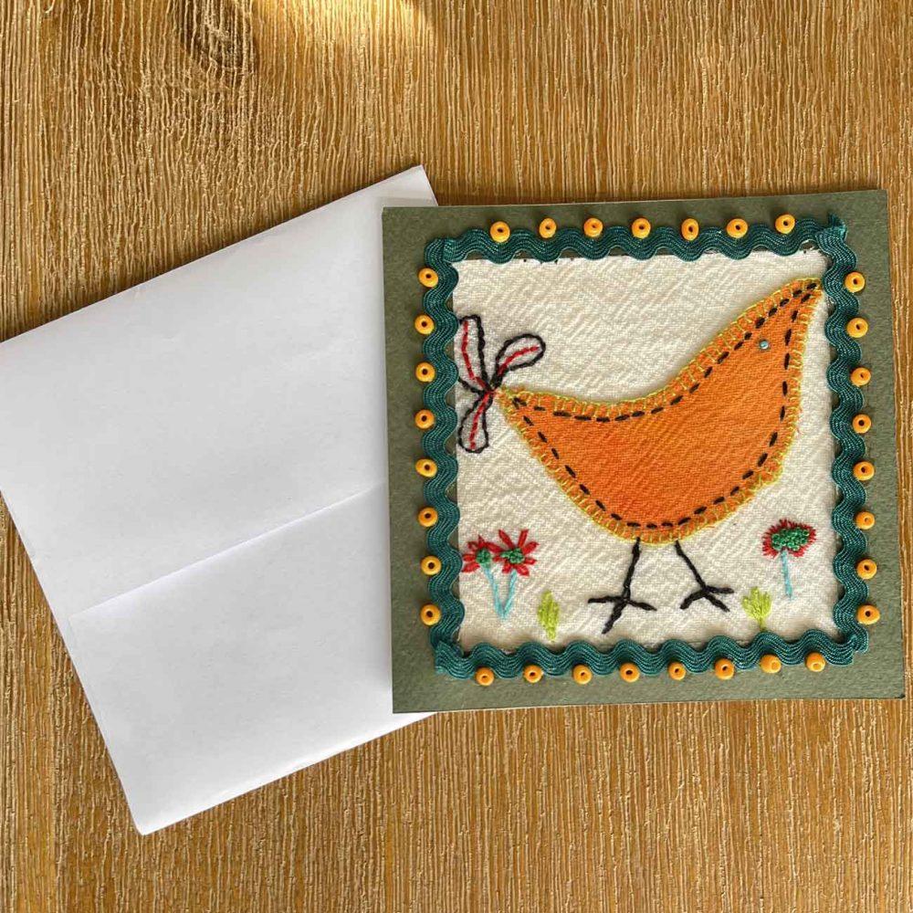 Orange Bird Embroidery Greeting Card